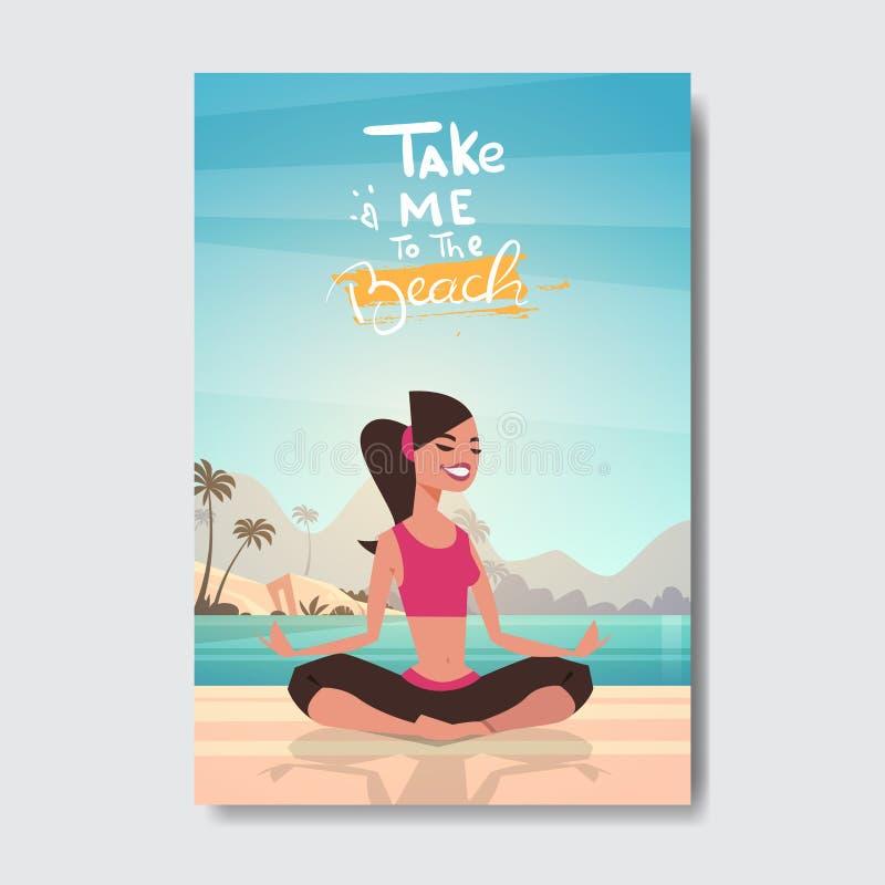 La donna di yoga dell'estate che fa l'alba di esercizi si rilassa l'etichetta di progettazione del distintivo della spiaggia del  royalty illustrazione gratis