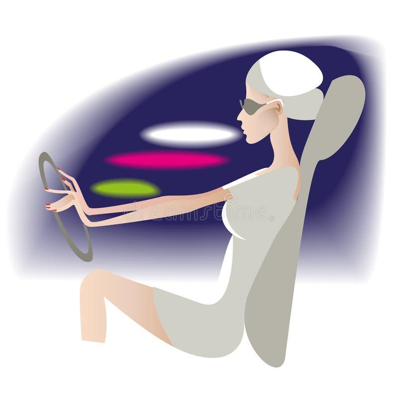 La donna dietro la rotella illustrazione di stock
