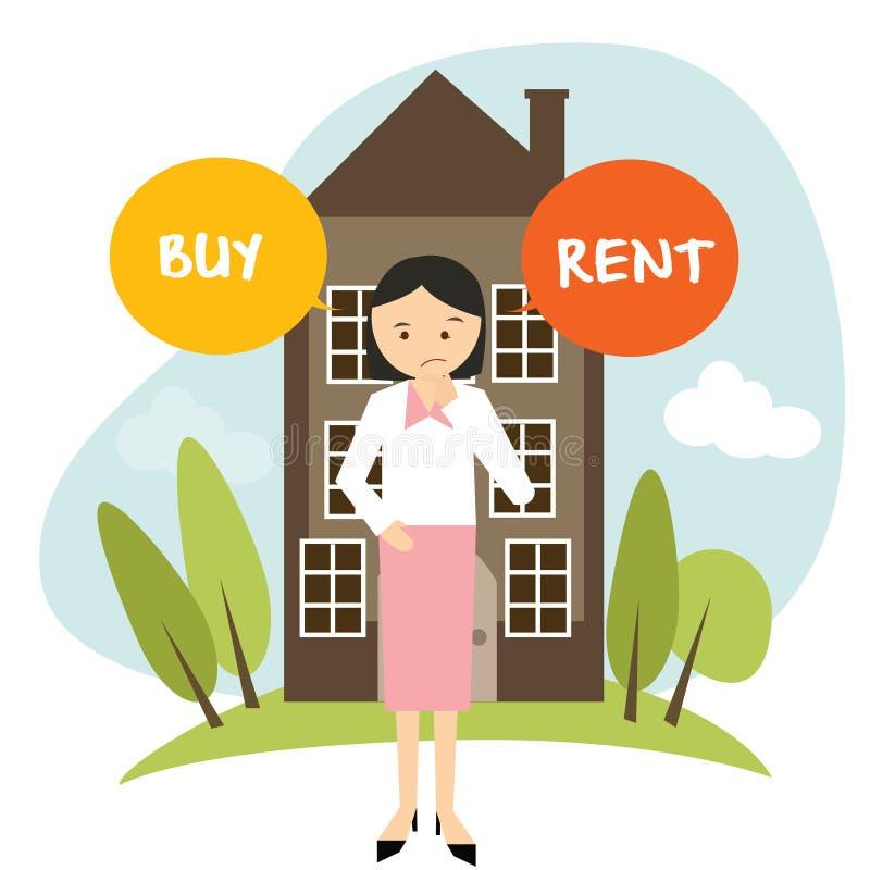 La donna domestica dell'appartamento della casa in affitto o dell'affare decide l'affitto d'acquisto dell'illustrazione di vettor illustrazione vettoriale