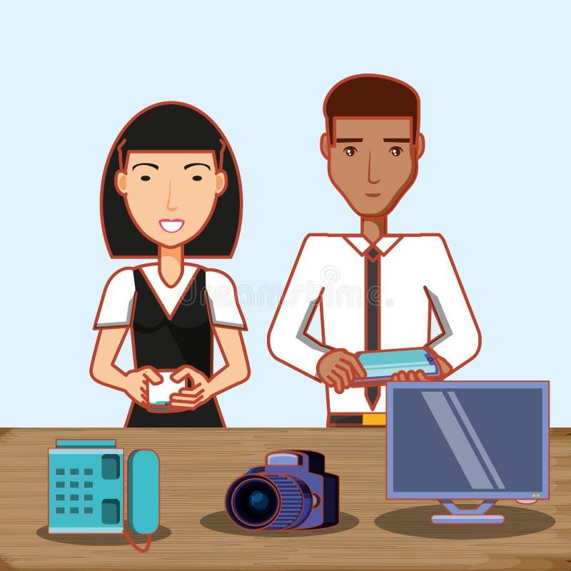 La donna e l'afro asiatici equipaggiano la macchina fotografica ed il computer del telefono del cellulare royalty illustrazione gratis