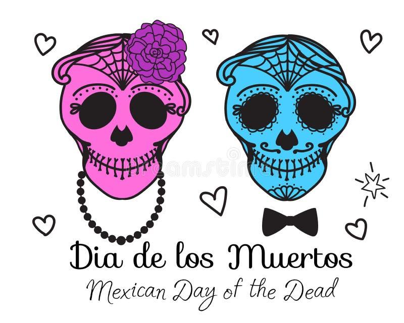 La donna e l'uomo anziani di Catrina con compongono del cranio dello zucchero Dia De Los Muertos Giorno messicano dei morti Illus illustrazione vettoriale