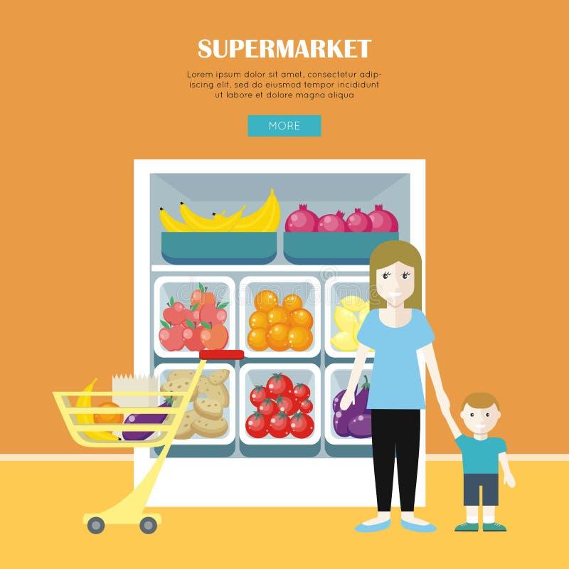 La donna e Little Boy fanno l'acquisto illustrazione di stock