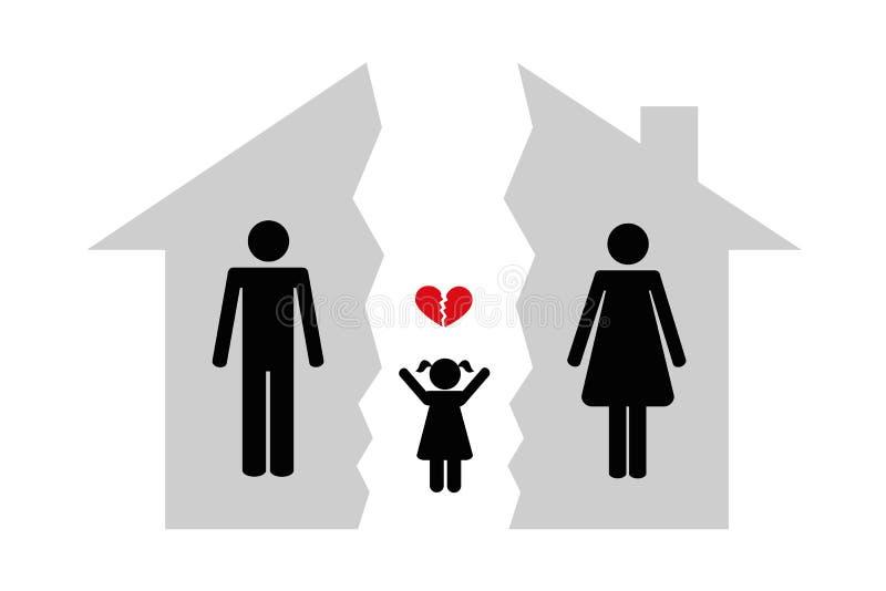 La donna ed il bambino dell'uomo di divorzio brocken la casa illustrazione di stock