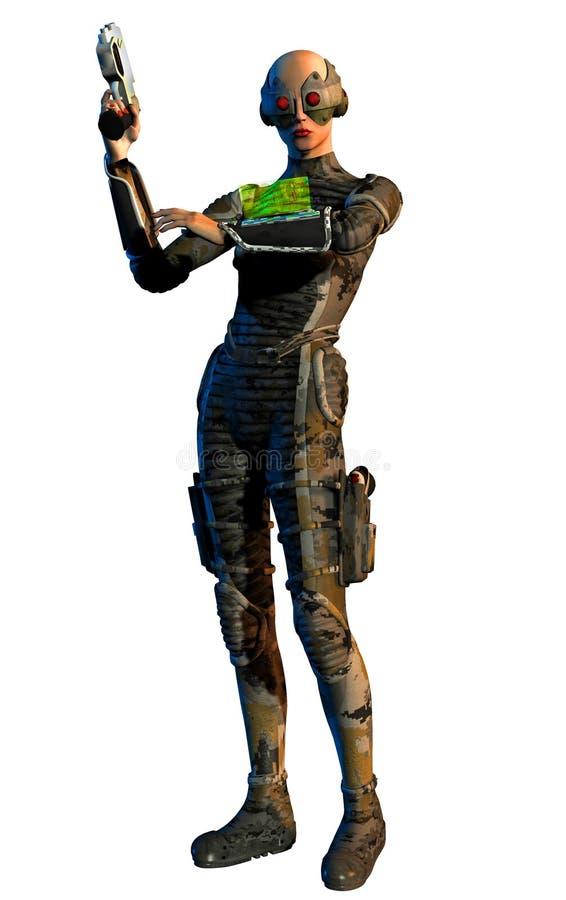 La donna futuristica del guerriero con la pistola esamina lo schermo sul guantone di protezione royalty illustrazione gratis