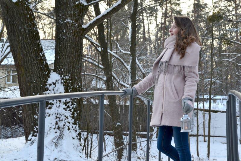 La donna gode della natura della foresta dell'inverno immagine stock libera da diritti