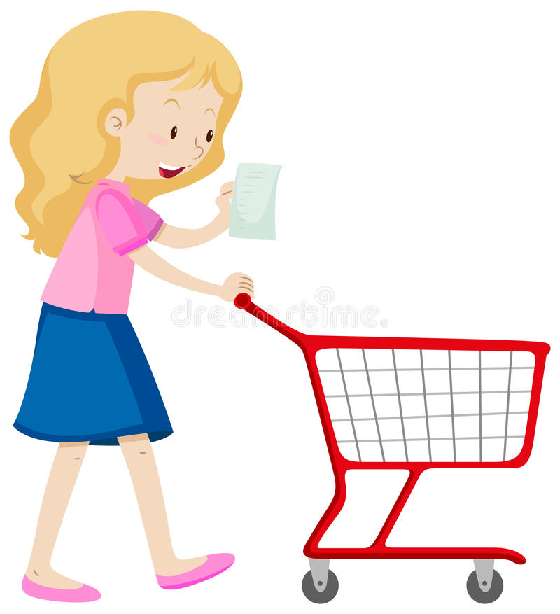 La donna ha letto la lista di acquisto e carretto di spinta royalty illustrazione gratis