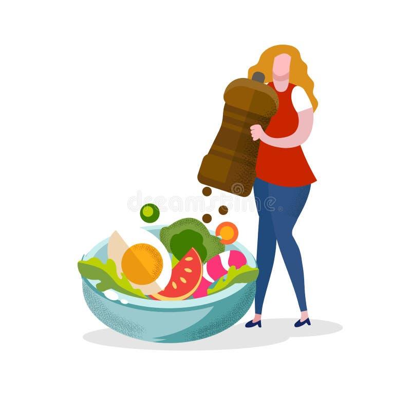 La donna ha messo la spezia del pepe in insalata, cottura della ragazza royalty illustrazione gratis