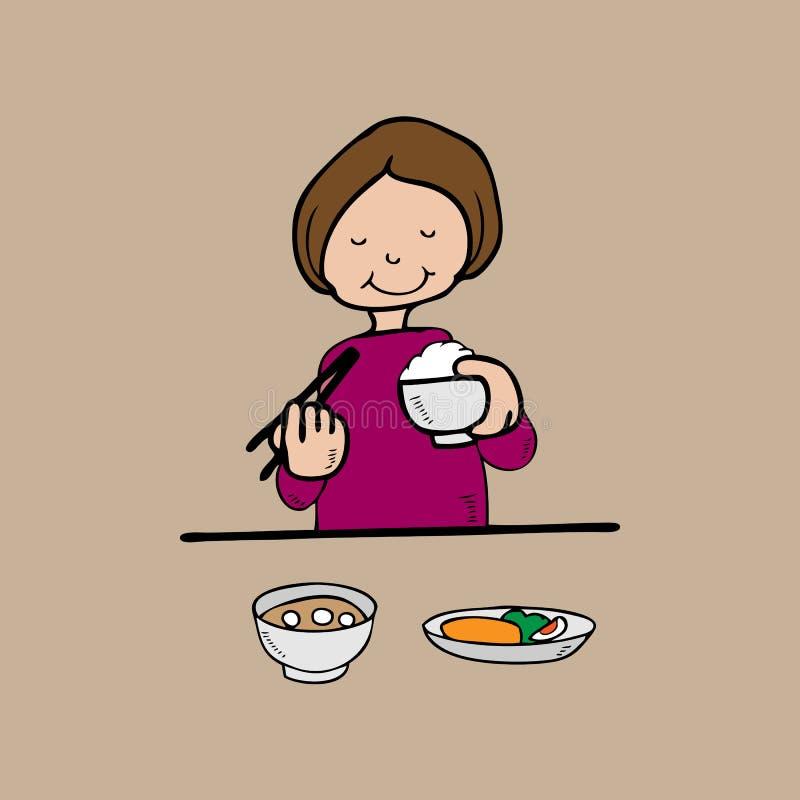 La donna ha stile dell'asiatico del pasto royalty illustrazione gratis