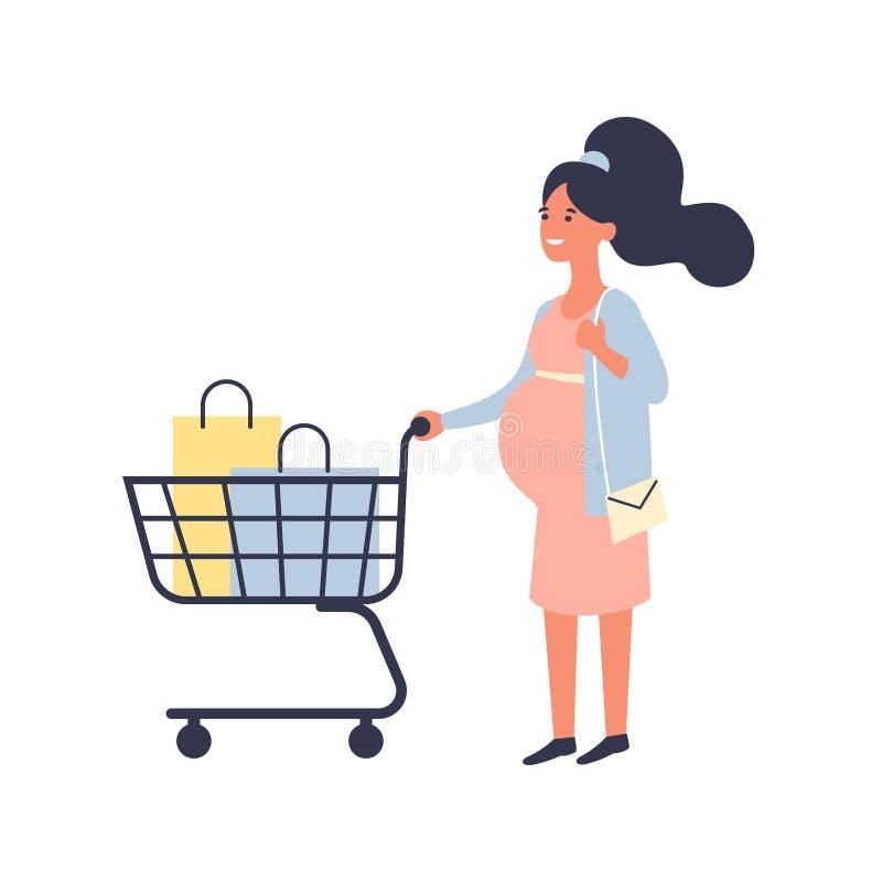 La donna incinta con il carrello fa gli acquisti nel supermercato Concetto di gravidanza e di acquisto Illustrazione piana di vet illustrazione di stock