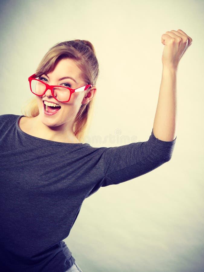 La donna indipendente ha ottenuto appena il nuovo lavoro fotografia stock
