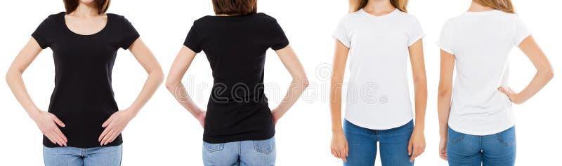 La donna in maglietta bianca e nera ha isolato le opzioni della maglietta dello spazio in bianco di immagine di Front And Rear Vi immagine stock