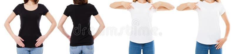 La donna in maglietta bianca e nera ha isolato le opzioni della maglietta dello spazio in bianco di immagine di Front And Rear Vi fotografia stock libera da diritti