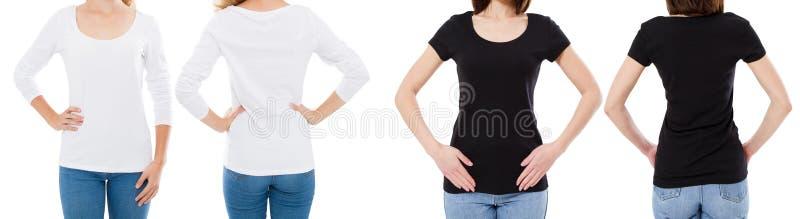La donna in maglietta bianca e nera ha isolato le opzioni della maglietta dello spazio in bianco di immagine di Front And Rear Vi fotografia stock