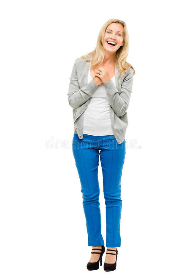 La donna matura felice è innamorato isolato su fondo bianco fotografie stock