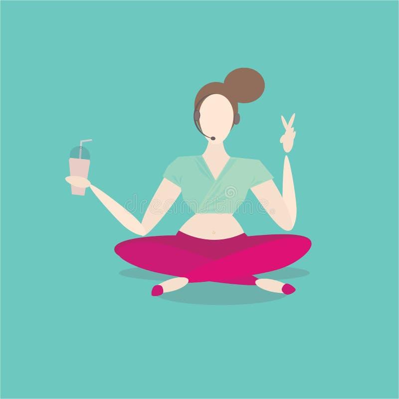 La donna medita con caffè, grande di mattina Lavoro della palestra, sport relativo alla ginnastica illustrazione vettoriale
