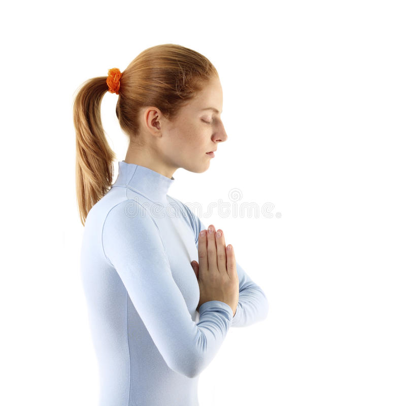 La donna meditate fotografia stock