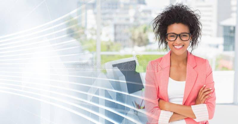 La donna millenaria di affari arma la transizione piegata e bianca dell'interfaccia immagine stock