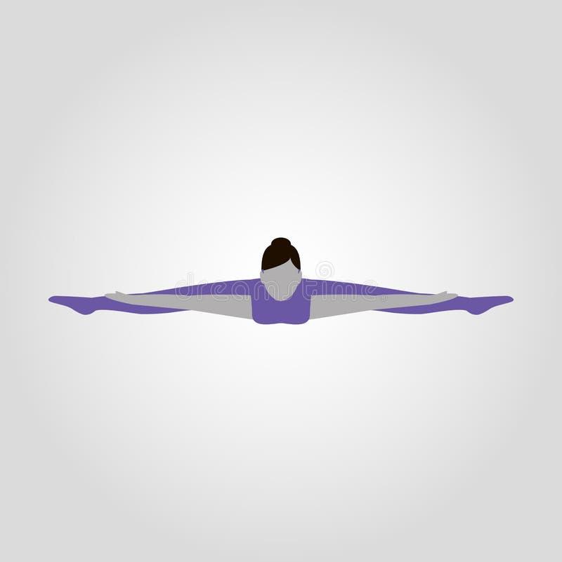 La donna mostra la siluetta piana di vettore isolata posa di yoga illustrazione di stock