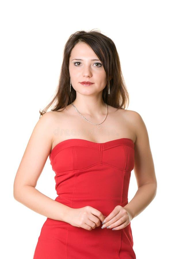 La donna nel colore rosso immagini stock libere da diritti