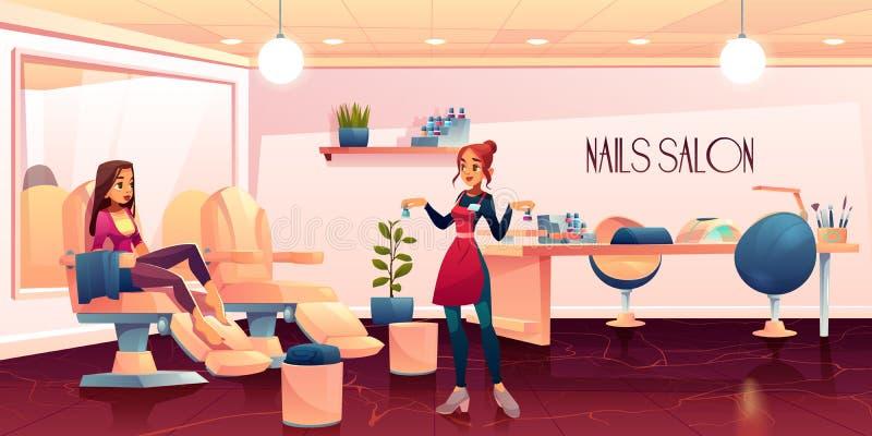 La donna nel salone di pedicure per le unghie si preoccupa la procedura illustrazione vettoriale