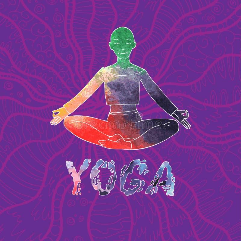 La donna nella posizione di Lotus su una porpora ha modellato il fondo Iscrizione di yoga Giorno di yoga del mondo royalty illustrazione gratis