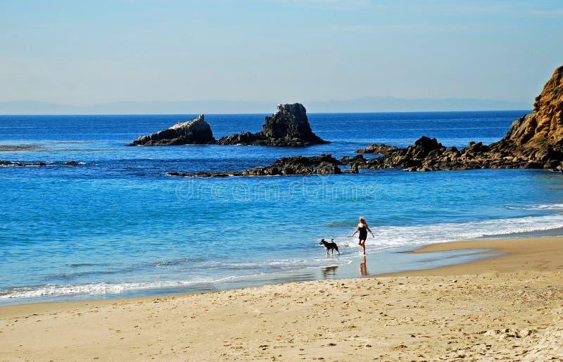 La donna pareggia sulla spiaggia con il suo cane di animale domestico fotografia stock libera da diritti