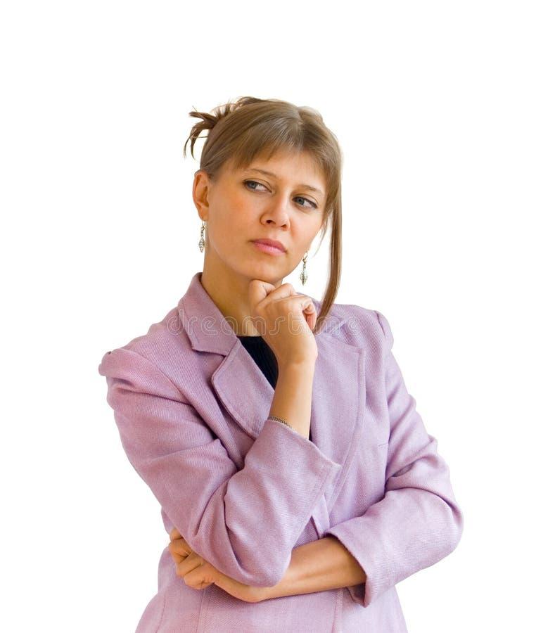 La donna pensa immagine stock