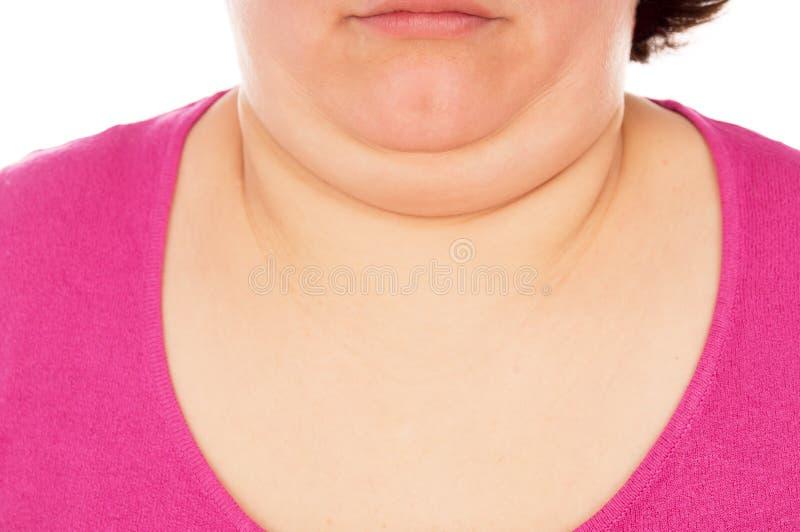 La donna piena mostra il secondo mento immagini stock libere da diritti