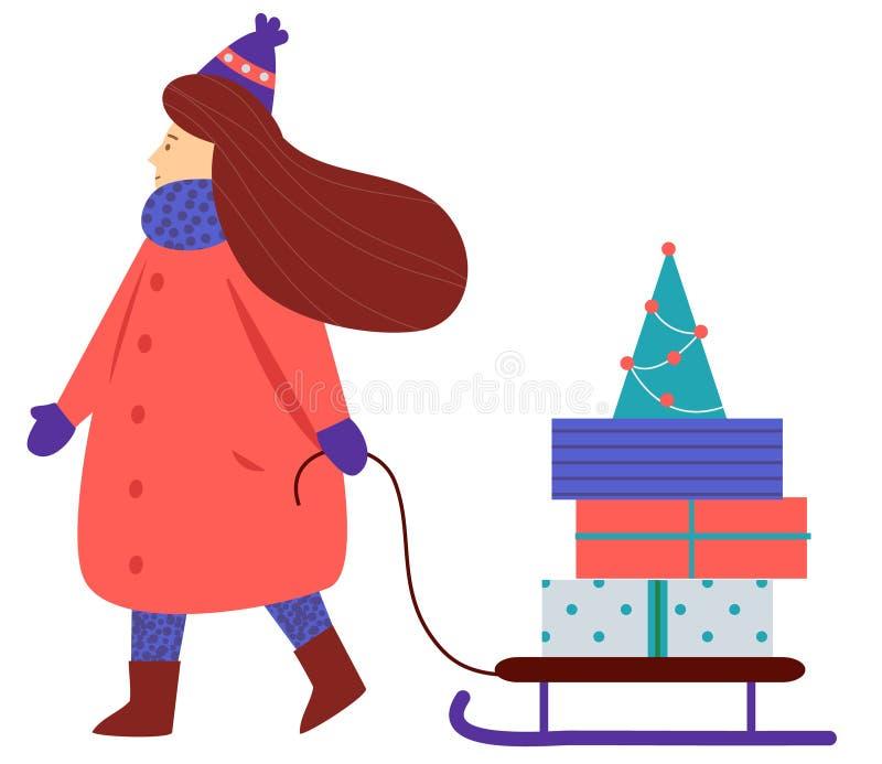 La donna porta i contenitori di regalo sulla slitta Serie della gente di Natale e del nuovo anno illustrazione di stock