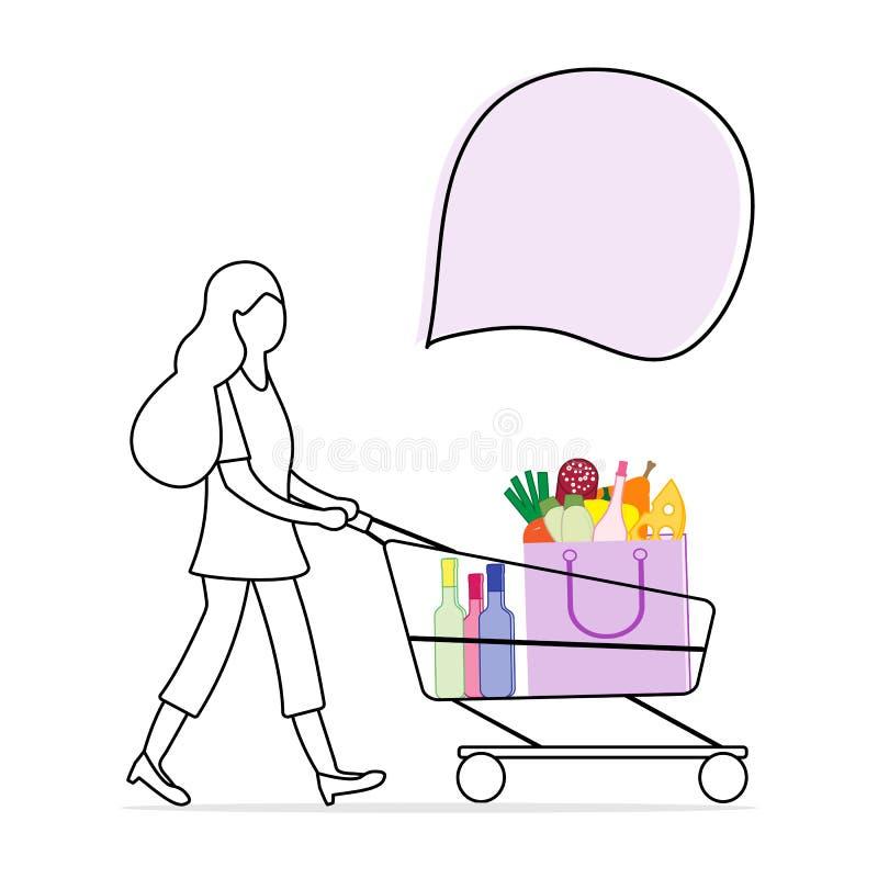 La donna porta il carrello con alimento e le bevande royalty illustrazione gratis