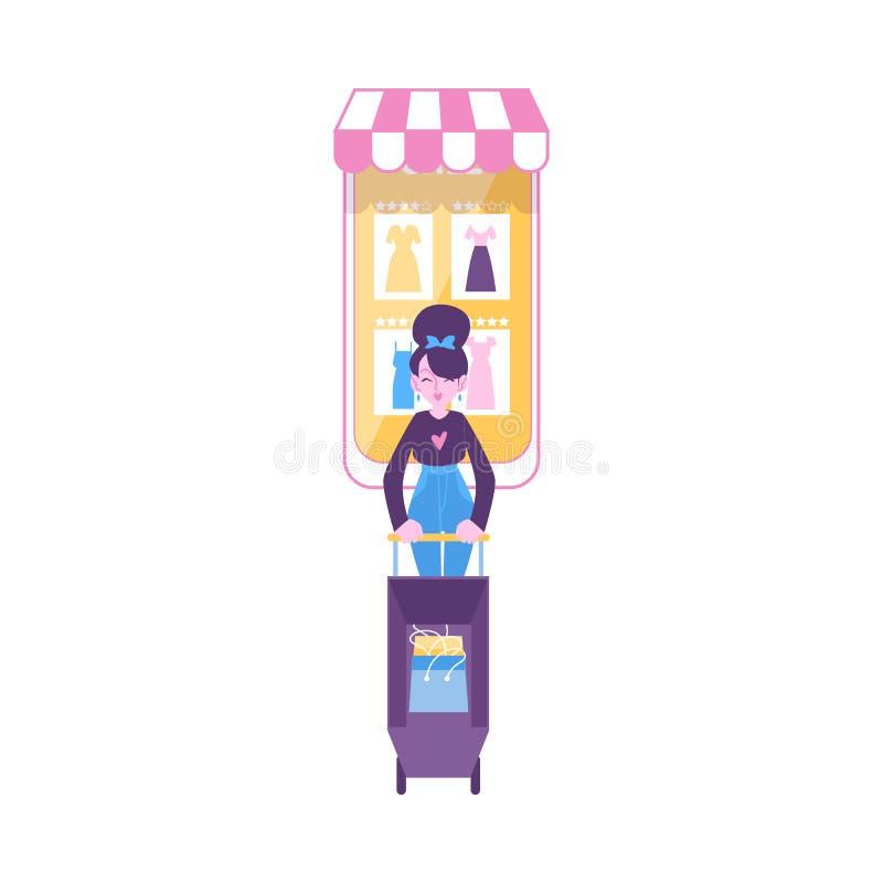 La donna porta il carrello da stile piano del fumetto dello schermo enorme del telefono cellulare illustrazione di stock