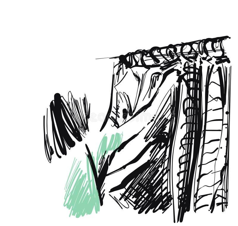 La donna sceglie i vestiti deposito abbozzare Disegnato a mano royalty illustrazione gratis