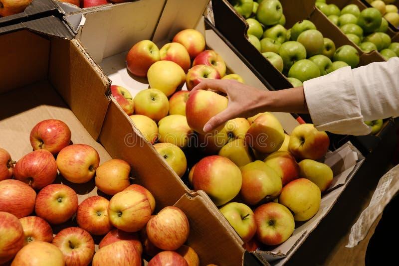 La donna sceglie le mele nel deposito contatore in mele in un supermercato fotografia stock