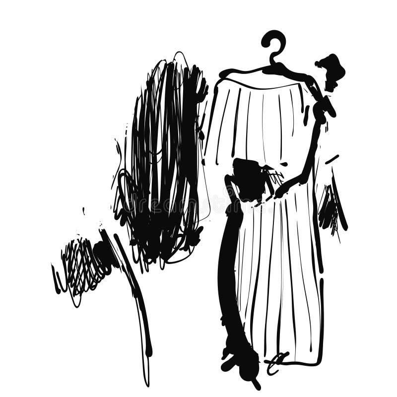 La donna sceglie un vestito Deposito con i vestiti abbozzare Disegnato a mano royalty illustrazione gratis
