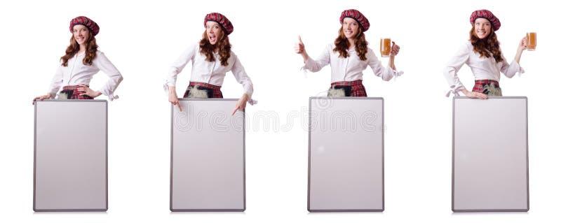 La donna scozzese con il bordo su bianco fotografie stock libere da diritti