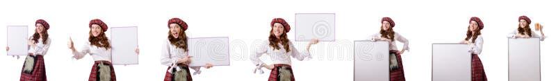 La donna scozzese con il bordo su bianco fotografie stock