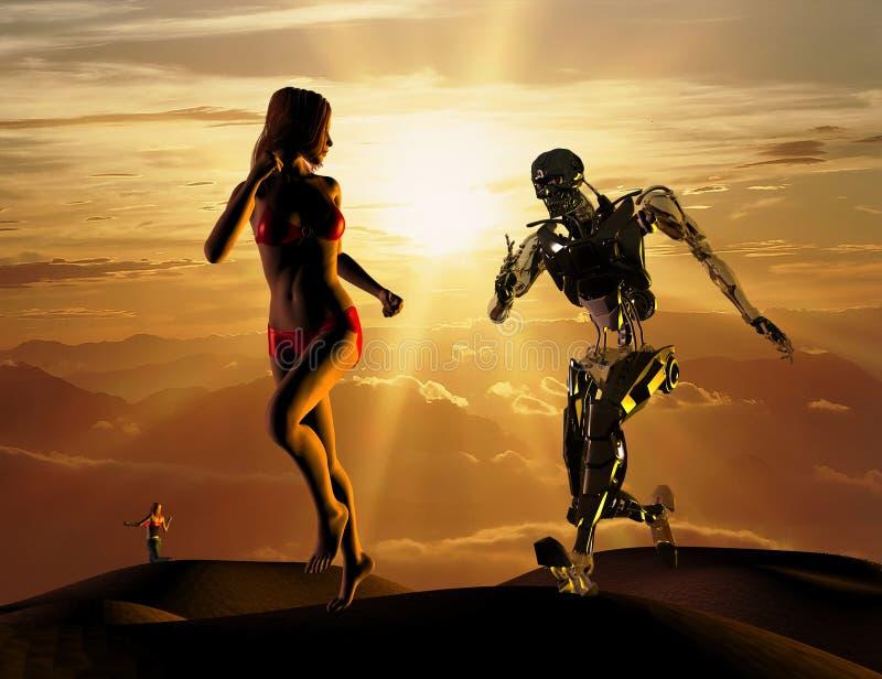 La donna sessuale con il cyborg illustrazione vettoriale
