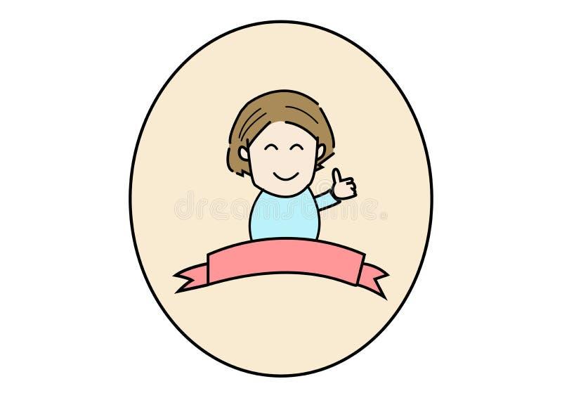 La donna sfoglia sul logo con fondo bianco illustrazione vettoriale