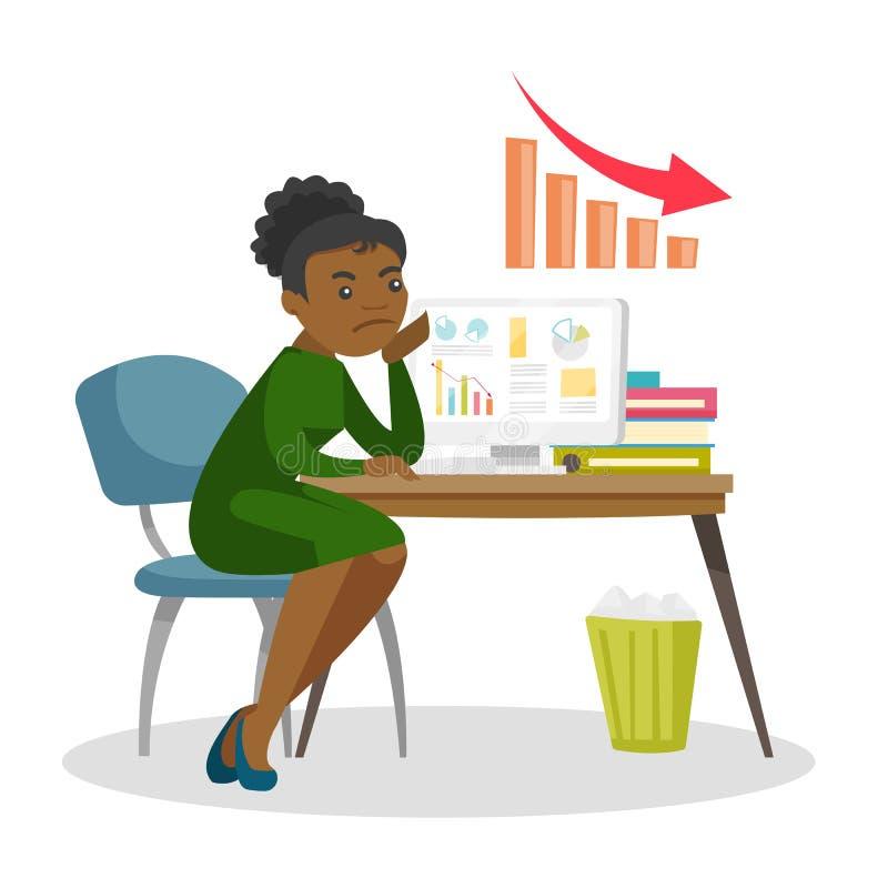 La donna si è preoccupata per il grafico commerciale che va giù royalty illustrazione gratis