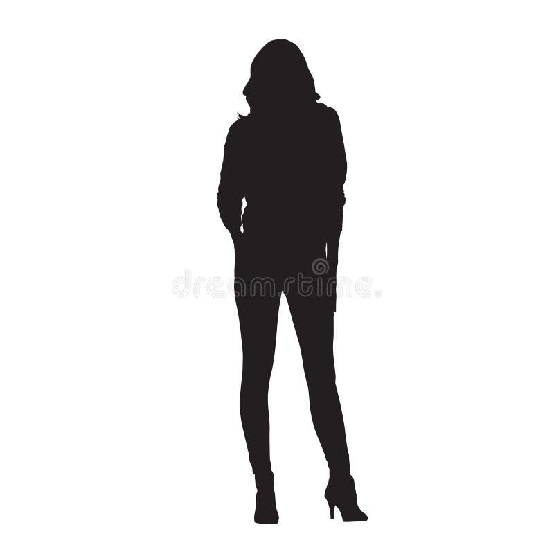La donna si è vestita in ghette e camicia, siluetta di vettore royalty illustrazione gratis