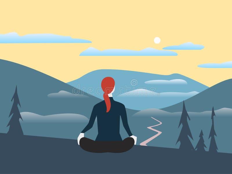 La donna si rilassa nel vettore piano di colore delle alte montagne illustrazione di stock