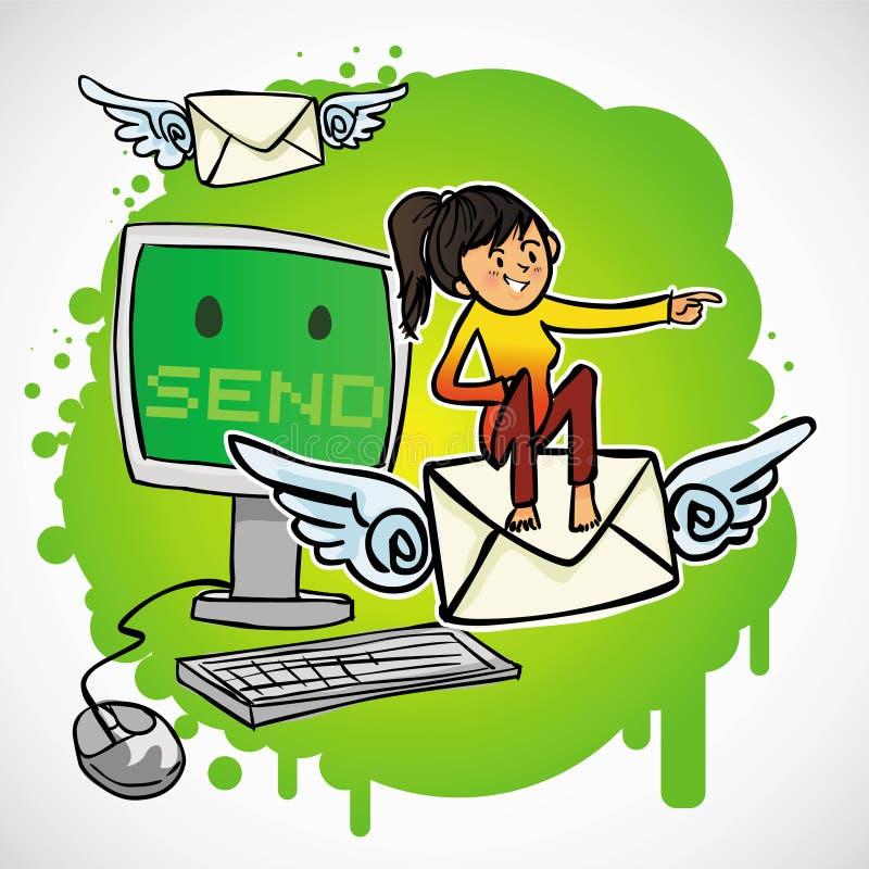 La donna si siede sul email illustrazione di stock
