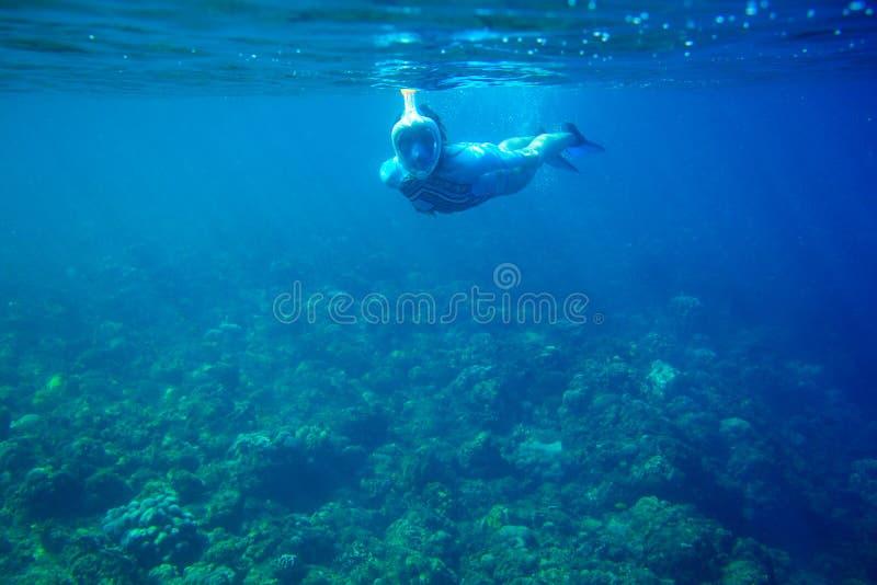 La donna si tuffa la barriera corallina Ragazza che si immerge nella maschera del interamente fronte Foto subacquea della persona fotografie stock libere da diritti