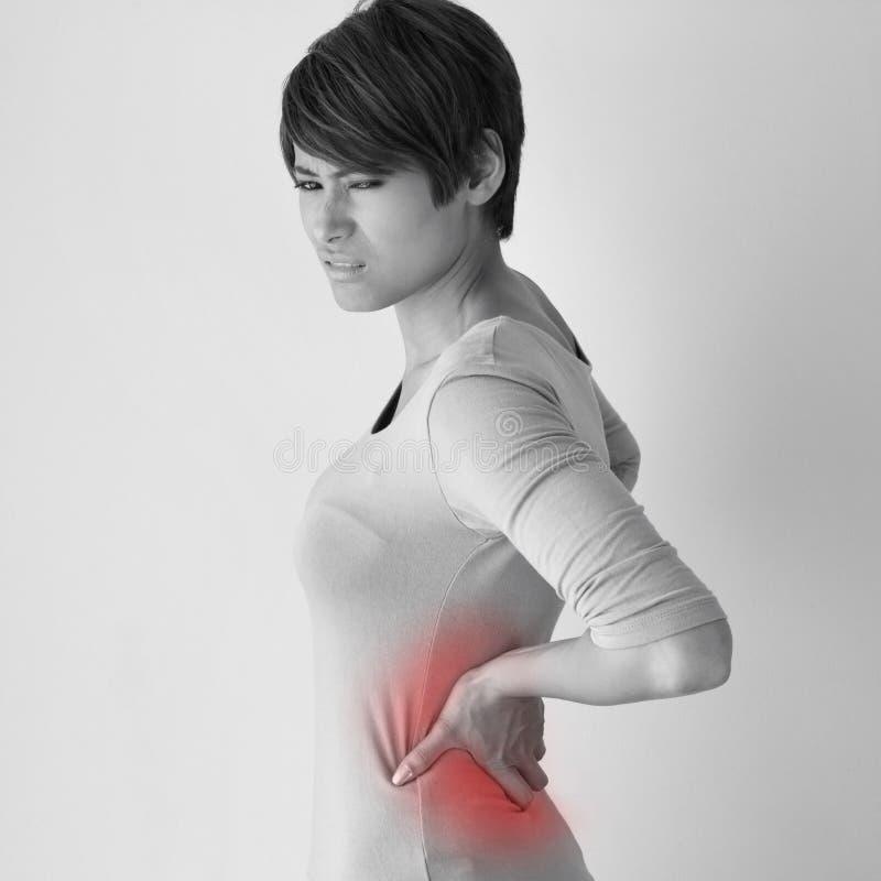 La donna soffre da dolore alla schiena, concetto della sindrome dell'ufficio immagine stock