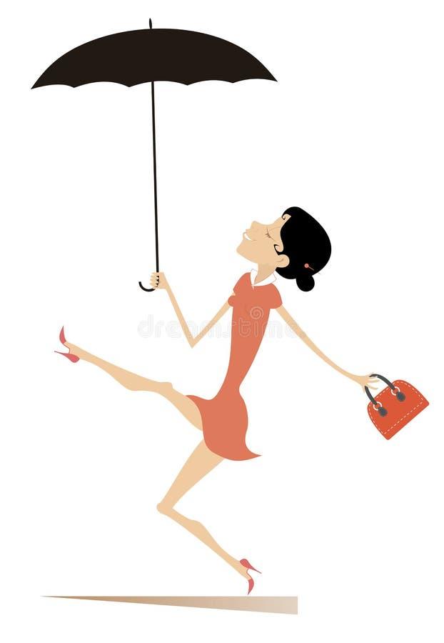 La donna sorridente di camminata con l'ombrello e la borsa ha isolato l'illustrazione illustrazione di stock