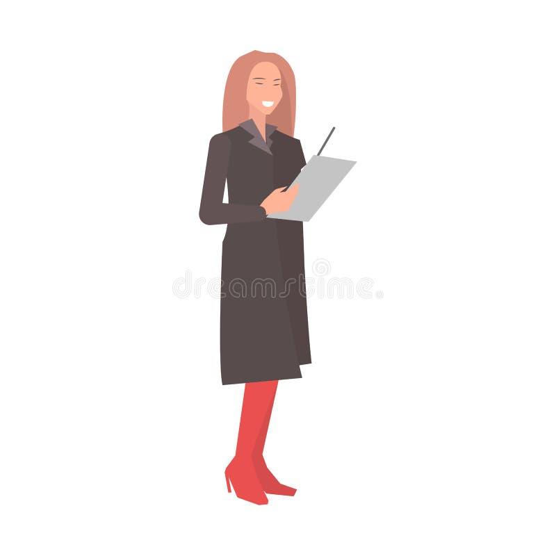 La donna sorridente prepara per progettazione piana della discussione illustrazione vettoriale