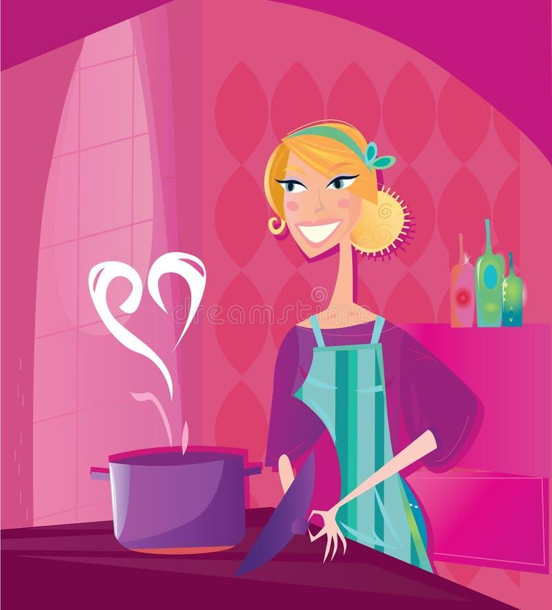 La donna sta cucinando l'alimento dei biglietti di S. Valentino con amore illustrazione vettoriale