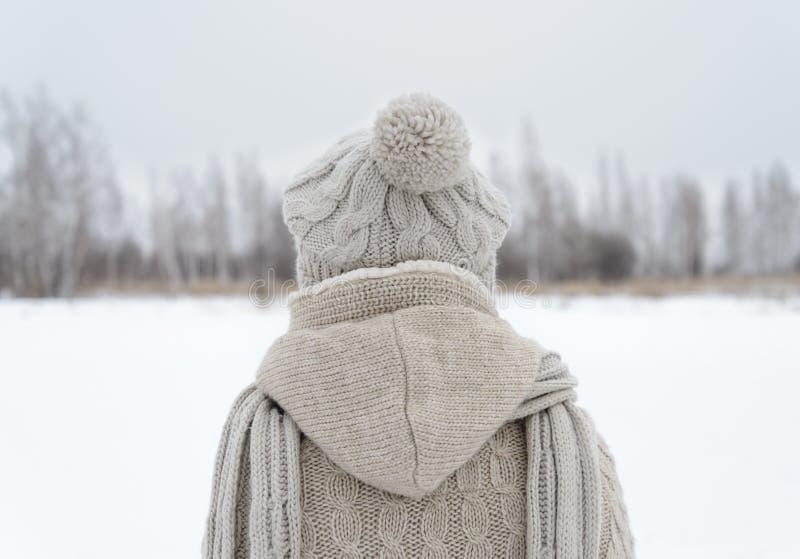 La donna sta indietro nell'inverno fotografia stock libera da diritti