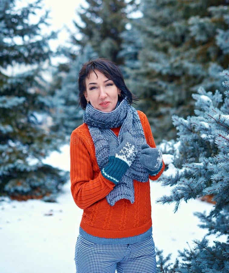 La donna sta posando nella foresta dell'inverno, bello paesaggio con gli abeti nevosi Vestito in maglione rosso immagini stock