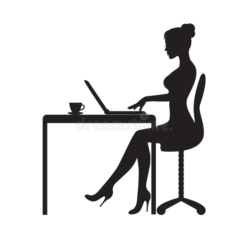La donna sta sedendosi al computer illustrazione di stock